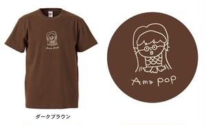 """アマビエ×@なおポップ=""""Ama pop""""Tシャツ(ダークブラウン)"""