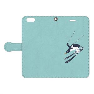 [手帳型iPhoneケース] 直滑降ペンギン
