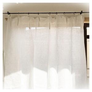 リネン中厚手ホワイト*フラットリボンカーテン【トールサイズ】W120×H216  現品限りセール中!