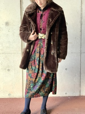 Vintage Double Breasted Fake Fur Coat
