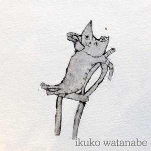 版画カード - 猫・お茶右 - わたなべいくこ - no9-wat-11