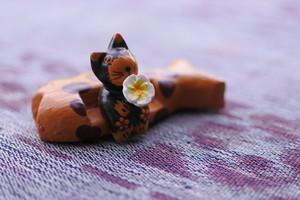 木彫りの動物 魚のソファ ネコ