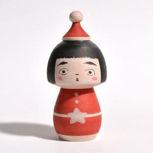 クリスマスこけし 約2.5寸 約7.9cm 長谷川優志 工人(津軽系)#0067