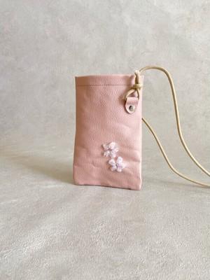 桜 手刺繍 スマホ ポシェット ちょっとだけ 本革 ベビーピンク
