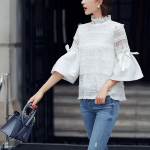 bowtie sleeve lace tops