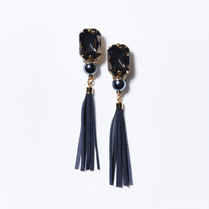 CLEAR BLACK BIJOU TASSEL EARRINGS