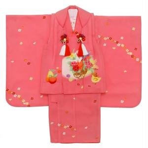 【3歳】七五三/節句 被布セット フルーツ 小花 ピンク