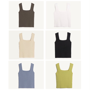 【送無】*予* 6color:Squareneck Knit Tanktop  スクエアネック ニットタンクトップ 送料無料