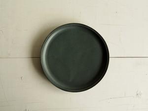 ナローリム皿  深緑マット釉