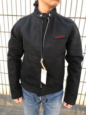 黒鎧エクストラヘビーデニムシングルライダースジャケット (蔵出し品)