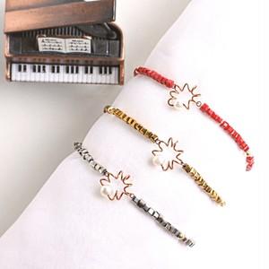 """アンティークなピアノ弦とパール、キューブクリスタルビーズのブレスレット """" プレリュード """" Piano strings with pearl and cubebeads bracelet """" Prelude"""