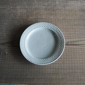 感器工房 波佐見焼 翔芳窯 ローズマリー リムプレート 皿 17.5cm グレー 332747