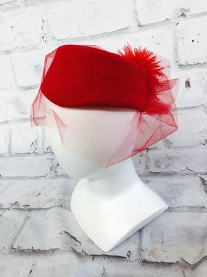 品番1607 ウールハット ヘッドドレス Betmar(ベトマール) レッド ベール付き つばなし 帽子 レディース ヴィンテージ