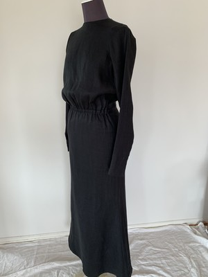 Robe noeud dress : open back Linen Black/Kinari