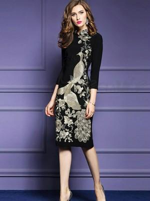 セレブワンピース 新作スタンディングカラー7分袖重工刺繍高級感着痩せボディコンレディース