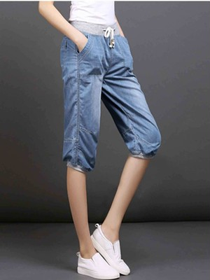 【bottoms】Women's casual loose knee length jeans