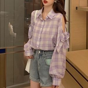【トップス】韓国系折り襟チェック柄但偏口リボンオープンショルダーシャツ28374523