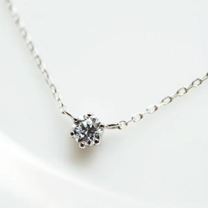 Pt900 正統派のダイヤモンドネックレス 0.1ct 6本爪