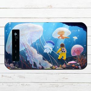 モバイルバッテリー おしゃれ 海 かわいい クラゲ iphone スマホ 充電器 タイトル:くらげの海 パターン2 作:星宮あき