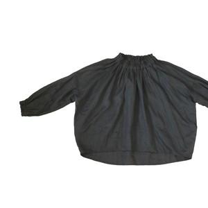 リネンギャザーブラウス*黒