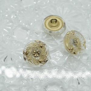 【チェコガラスボタン】6枚の葉と花・クリア×ゴールド ::: 特小1.4cm