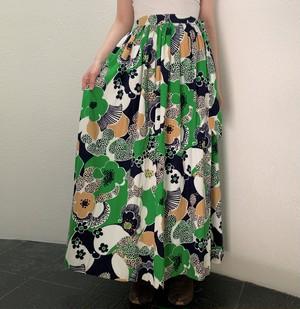S~Lサイズ【アメリカ製古着】1960年代ヴィンテージ◆グリーン×ネイビーのポップフラワー◆マキシ丈巻きスカート【中古】