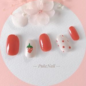 Pukeネイル[No.278]可愛いオレンジイチゴ・デート・春ネイルジェイルネイルチップ
