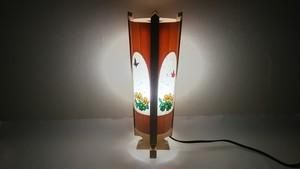 切り絵デザイン(片喰) 木と深山和紙の 青森ヒバ木製 照明   No.   035