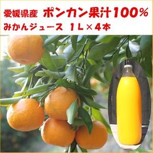 無添加◆ポンカン果汁100%ジュース・1L×4本(箱入り)愛媛県産みかん