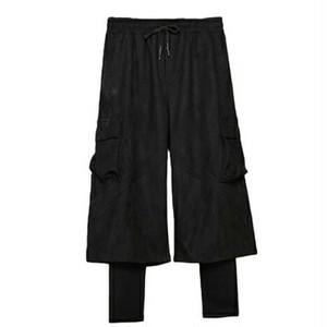 クロップドパンツ/レイヤード風のサイドポケット付き送料無料