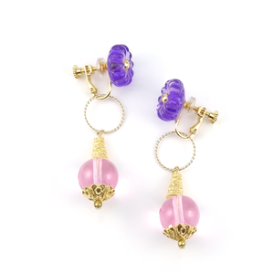 "【2way】 flower glass_earrings ""purple rain"" a006"