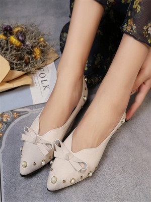 【shoes】Ribbon decoration casual Flat shoes