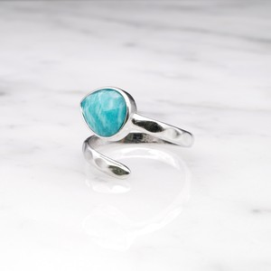 SINGLE STONE OPEN RING SILVER 019
