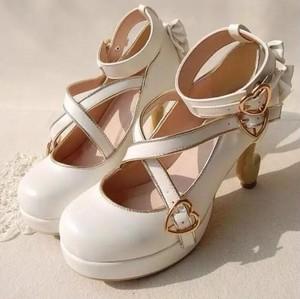 7118パンプス レディース ロリータ シューズ 靴 アンクルストラップ リボン付 ヒール  ゴスロリコスプレ靴  ハロウイン LOLITA