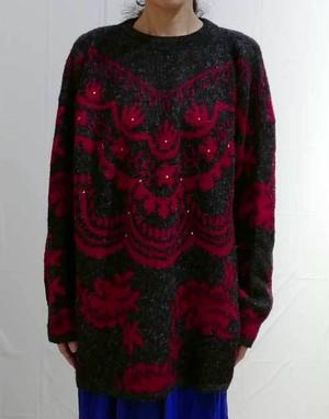 S~XLサイズ【フランス製古着】グレイッシュブラックとピンクのジャガード織モヘア◆ビックシルエット◆セーター