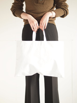 Leather tote bag (M)/White