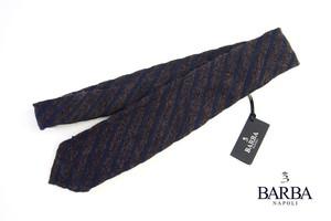 バルバ BARBA 混紡ストライプ柄ネクタイ ブラウン