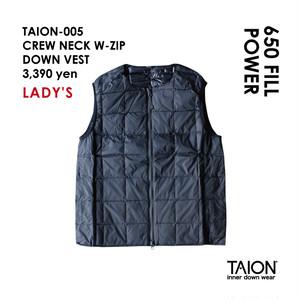 [ 今なら送料無料!! ] 【レディース】TAION-005 CREW NECK W-ZIP DOWN VEST < ブラック >