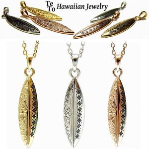 【HawaiianJewelry / ハワイアンジュエリー】 ネックレス サーフボード オルテガ柄 レディース メンズ ペア イエローゴールド
