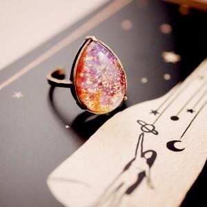 里帰り日本製 50年代 チェリーオパール ヴィンテージガラスリング(指輪)