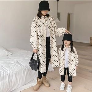 大人用 親子 お揃い ドット柄ジャケット 韓国服