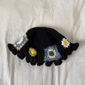 Smile flower granny square hat