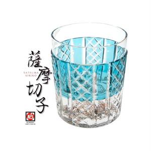 【- 薩摩切子 -】限定品! びーどろ切子 島グラス タンブラー(緑) 送料無料!!