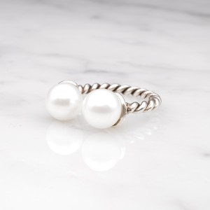 S925 DOUBLE PEARL OPEN TWIST RING