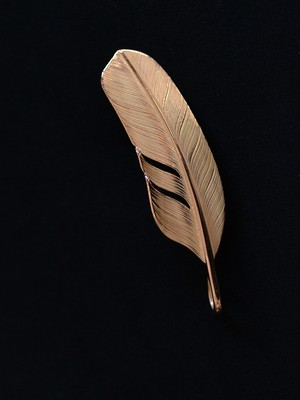 K18Gold Feather Pendant Top ( Size: S )