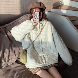 【アウター】韓国系冬スタンドネックボウタイ無地シングルブレストアウター