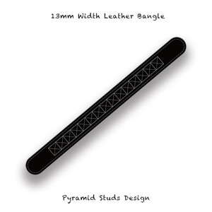 13mm Width Leather Bangle / Pyramid Studs Design