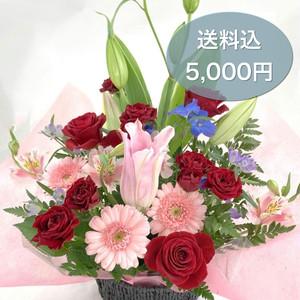 送料込み【フラワーアレンジメント】お花屋さんが選ぶお任せアレンジ 5000円