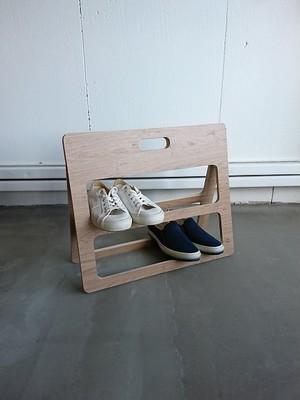 【G051】送料無料 シューズラック 2段 おしゃれ コンパクト 折り畳み 薄型 木目