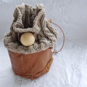 Muffin / knit mini bag - twist / P-Beige